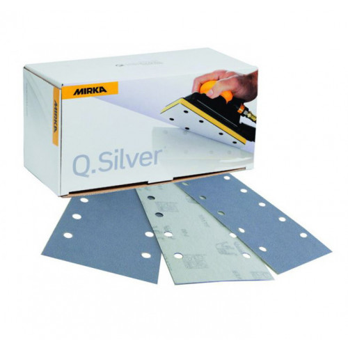115 x 230mm 180g Q. Silver abrasive sheets, 10 hole, 100/pk