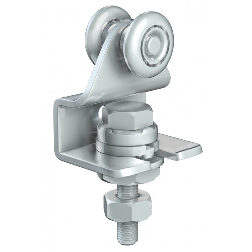 Series 20 Single Axle Wheel Rotating Steel Hanger With Cranked Mounting Plate, 35Kg Capacity