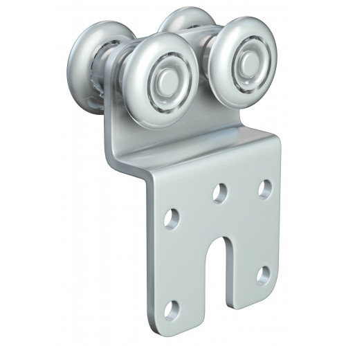 Series 20 Double Axle Steel Wheel Hanger With 46 x 76mm Cranked Mounting Plate, 45Kg Capacity