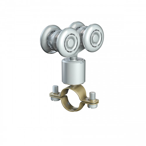 Series 20 Double Axle Rotating Steel Wheel Hanger With 16mm Dia. Pipe Clamp, 25Kg Capacity