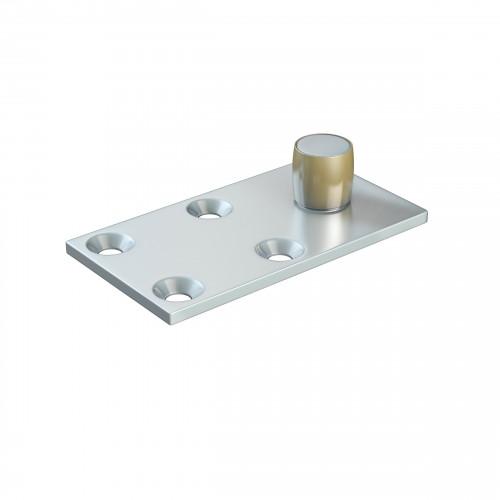 Series 20 14mm Diameter Bottom Guide Roller, Offset On Flat Steel Plate