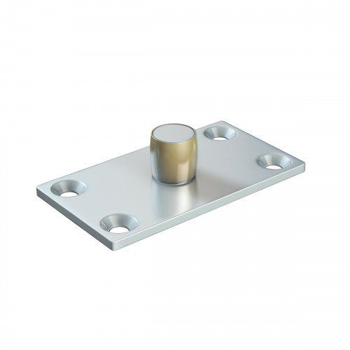 Series 20 14mm Diameter Brass Bottom Guide Roller, On Flat Steel Plate