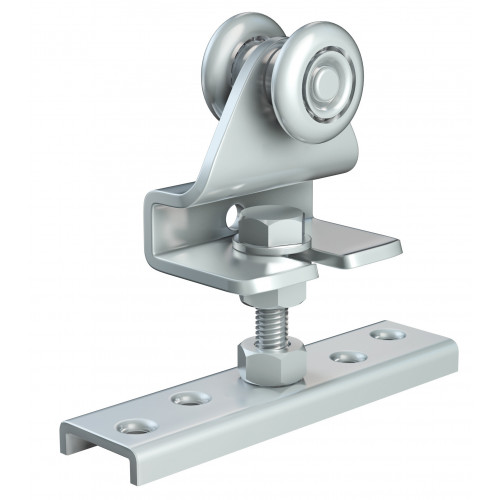 Series 20 Single Axle Steel Wheel Hanger With Cranked Mounting Plate, 35Kg Capacity