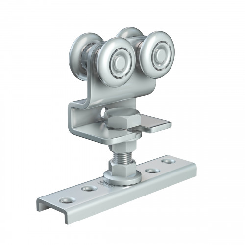 Series 20 Double Axle Steel Wheel Hanger With Cranked Mounting Plate, 45Kg Capacity