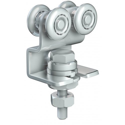 Series 20 Double Axle Rotating Steel Wheel Hanger With Cranked Mounting Plate, 45Kg Capacity