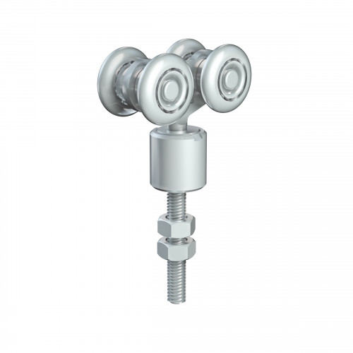 Series 20 Double Axle Rotating Delrin Wheel Hanger, M8 x 46mm Pin, 35Kg Capacity