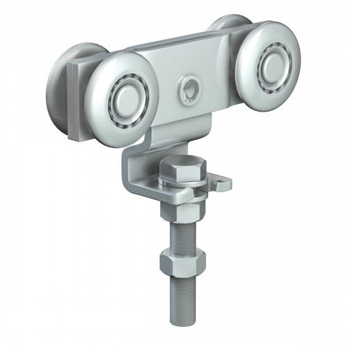 Series 250 Double Axle Steel Wheel Hanger With Cranked Mounting Plate, 280Kg Capacity