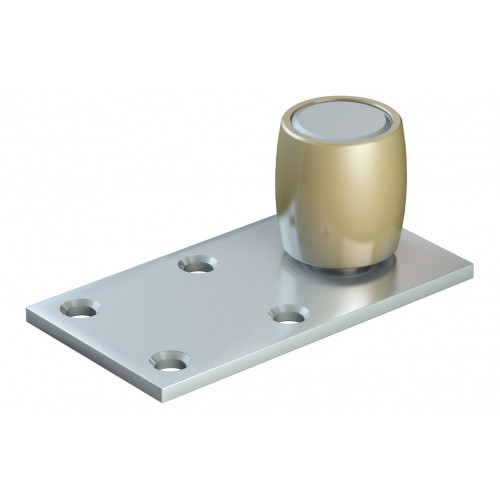 Series 250 25mm Diameter Brass Bottom Guide Roller, Offset On Flat Steel Plate