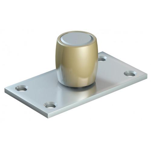 Series 250 25mm Diameter Brass Bottom Guide Roller, On Flat Steel Plate