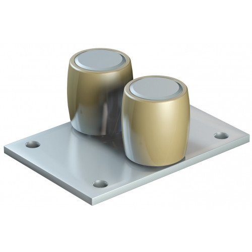 Series 250 25mm Diameter Double Brass Bottom Guide Roller, On Flat Steel Plate