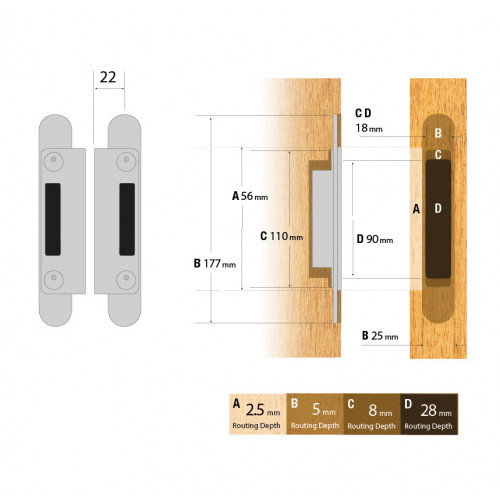 Reliance Adjustable Keep For Autolocking Doors Upto 44mm Doors