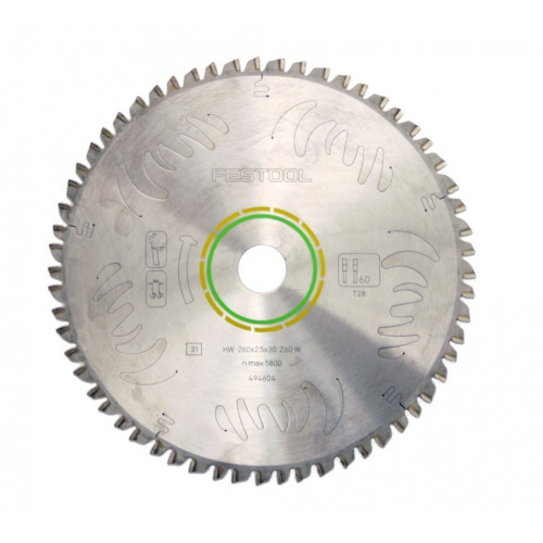 Festool 494604 Saw Blade 260mm × 60T × 30mm Bore