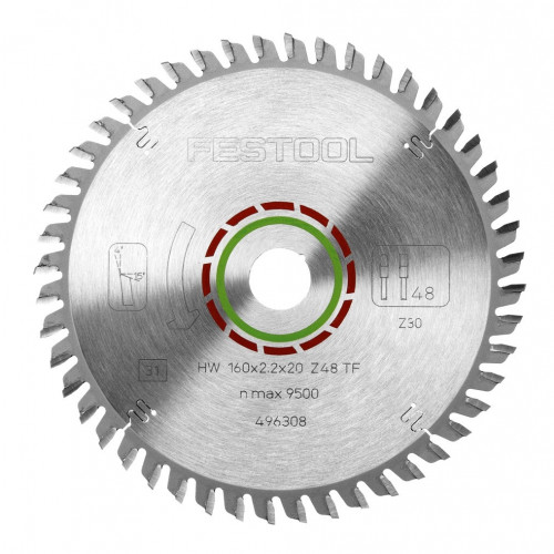 Festool 496308 Special TF Saw Blade 160mm × 48T × 20mm Bore