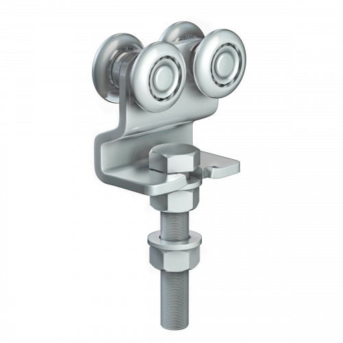 Series 50 Double Axle Steel Wheel Hanger With Cranked Mounting Plate, 160Kg Capacity