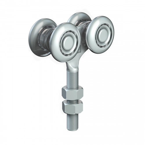 Series 50 Double Axle Steel Wheel Hanger, M12 x 60mm Pin, 220Kg Capacity