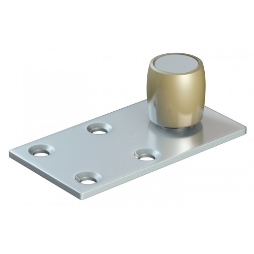 Series 50 20mm Diameter Brass Bottom Guide Roller, Offset On Flat Steel Plate