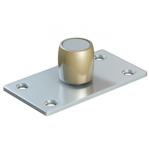 Series 50 20mm Diameter Brass Bottom Guide Roller, On Flat Steel Plate