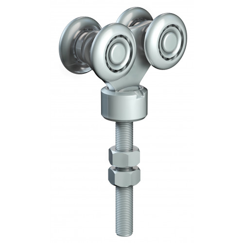 Series 50 Double Axle Rotating Steel Wheel Hanger, M12 x 78mm Pin, 220Kg Capacity