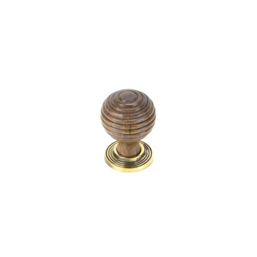 Beehive Cabinet Knob, Rosewood & Polished Brass, Small