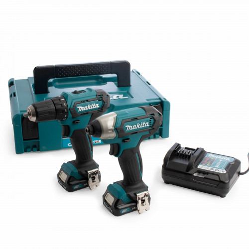 Makita 12v Li-Ion drill/impact driver twin pack with 2 2.0 Ah batteries, charger and case