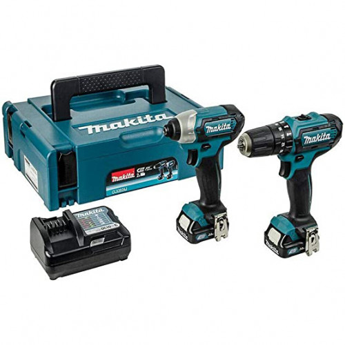 Makita 12v Li-Ion drill driver/impact driver twin pack with 2 2.0 Ah batteries, charger and case