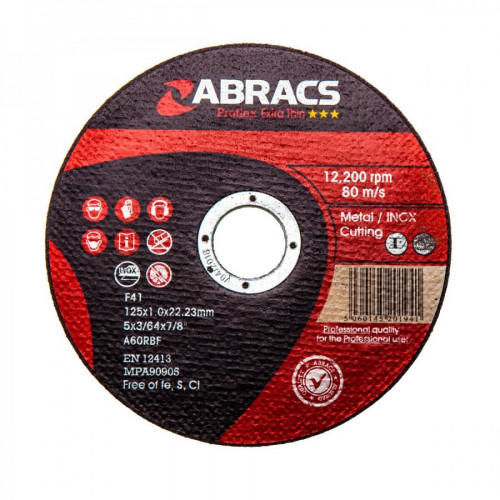Metal Cutting Disc Extra Thin Flat 125mm × 1.0mm × 22.2mm Bore