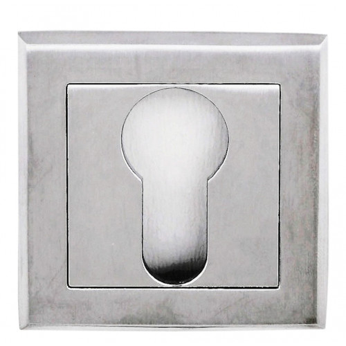 Designer Euro Escutcheon 50 x 50mm Square Satin Chrome