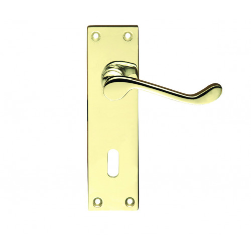Door Handle Set Victorian Scroll Lever Lock Polished Brass