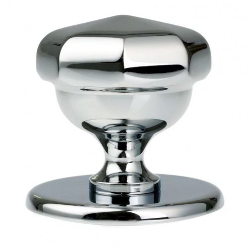 Centre Door Knob Octagonal 79mm Backplate Polished Chrome