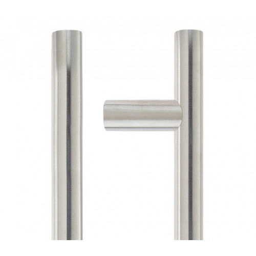 T-Bar Pull Handle 30mm Diameter Bolt Through Fixing 600mm Satin Stainless Steel