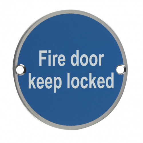 Fire Door Keep Locked Circular Sign 76mm Satin Anodised Aluminium