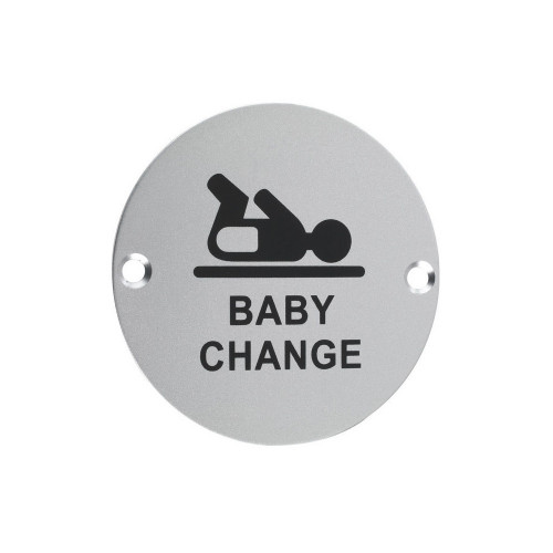 Baby Change Symbol Circular Sign 76mm Satin Anodised Aluminium