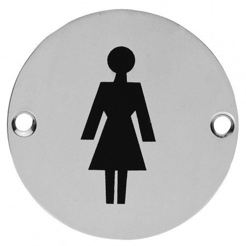 Female Symbol Circular Sign 76mm Diameter Satin Anodised Aluminium