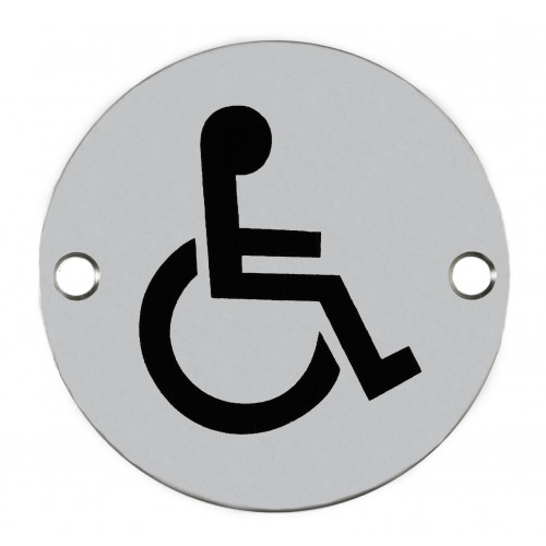 Disabled Symbol Circular Sign 76mm Diameter Satin Anodised Aluminium