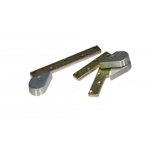 Pivot Door Set Single Action Retractable Top Centre & Strap Satin Stainless Steel LH