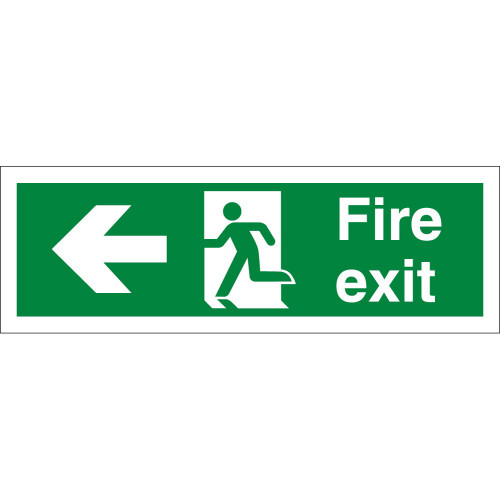 Fire Exit Sign Rigid Plastic 600 × 200mm Arrow Left