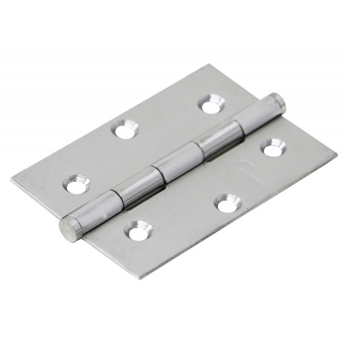 Butt Hinges Pair 76mm Satin Stainless Steel