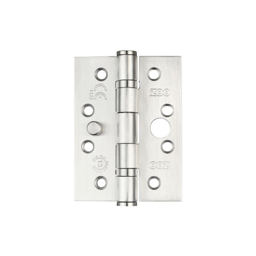 Ball Bearing Butt Security Hinge Square Corners Grade 13 Pair 102 x 76 x 3mm Satin Stainless Steel