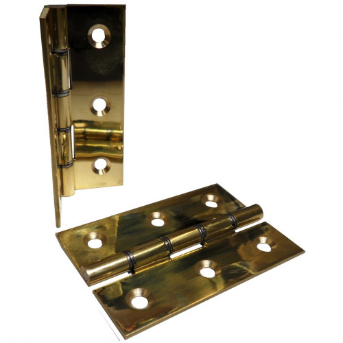 Butt Hinge Double Steel Washered Pair 75mm Polished Brass