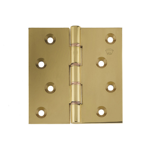 Projection Hinges Pair Double Phospher Bronze Washered 100 × 100mm Polished Brass