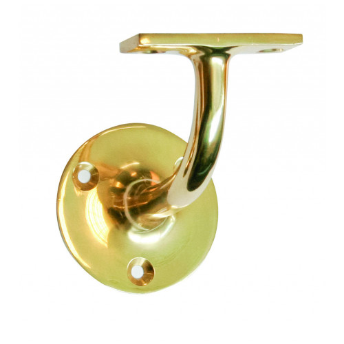 Handrail Bracket Heavy Style 75mm Projection Polished Brass