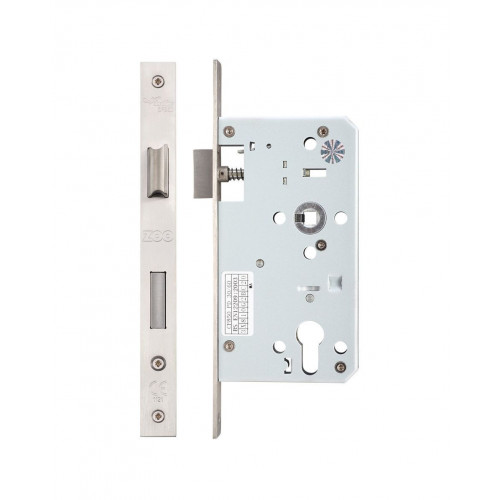 Din Euro Mortice Sashlock Square Foreplate Satin Stainless Steel 60mm Backset