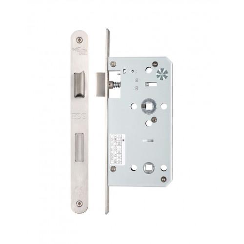 Bathroom Lock Din Standard Radius Foreplate Satin Stainless Steel 60mm Backset