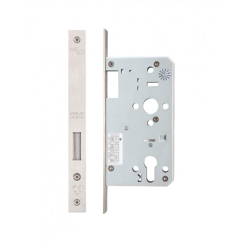 Din Euro Dead Lock Square End Satin Stainless Steel 60mm Backset