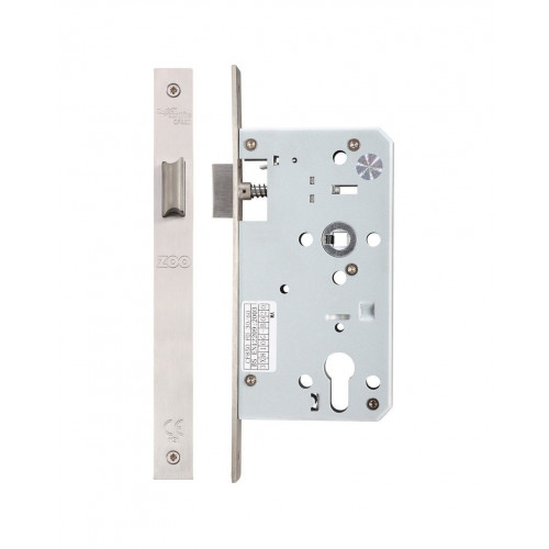 DIN Mortice Latch Square End Satin Stainless Steel 60mm Backset