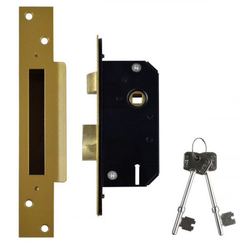 Sashlock Narrow Style 5 Lever Case Depth 51mm Brass