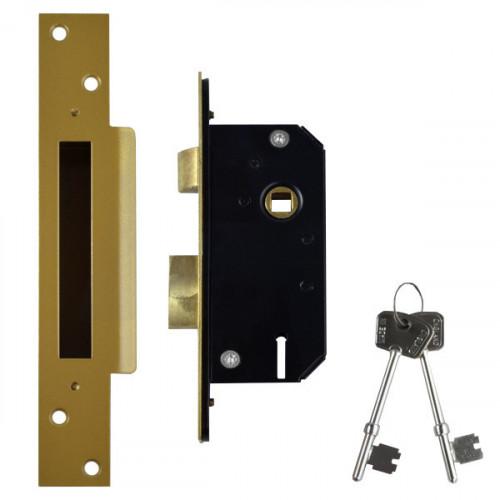 Sashlock Narrow Style 5 Lever Case Depth 51mm Brass