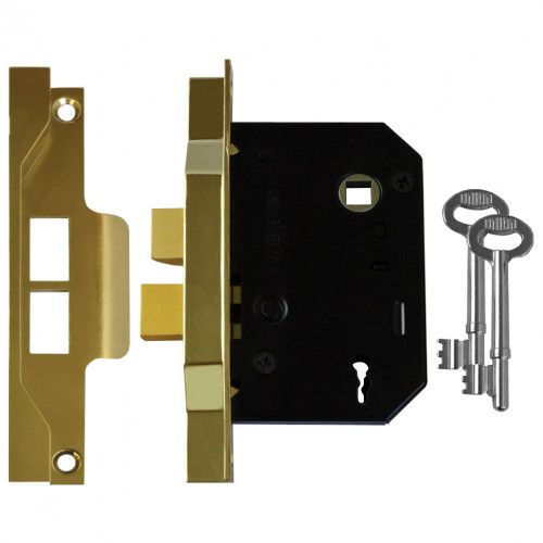 Union Rebated Mortice Sashlock 2 Lever 63mm Electro Brass
