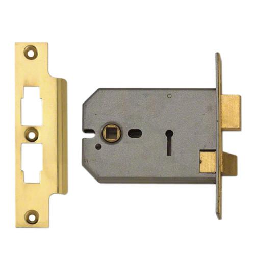 Mortice Sashlock Horizontal 3 Lever Case Depth 125mm Brass