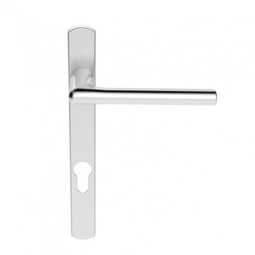 Multi Point Lever Lock Rosa Handle Set On Narrow Backplate 220 x 26mm Satin Chrome
